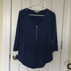 EUC Dusty Blue 3/4 Sleeve Zip Front Top
